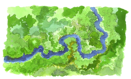 Illustration representing a waterway that evolves naturally in the space