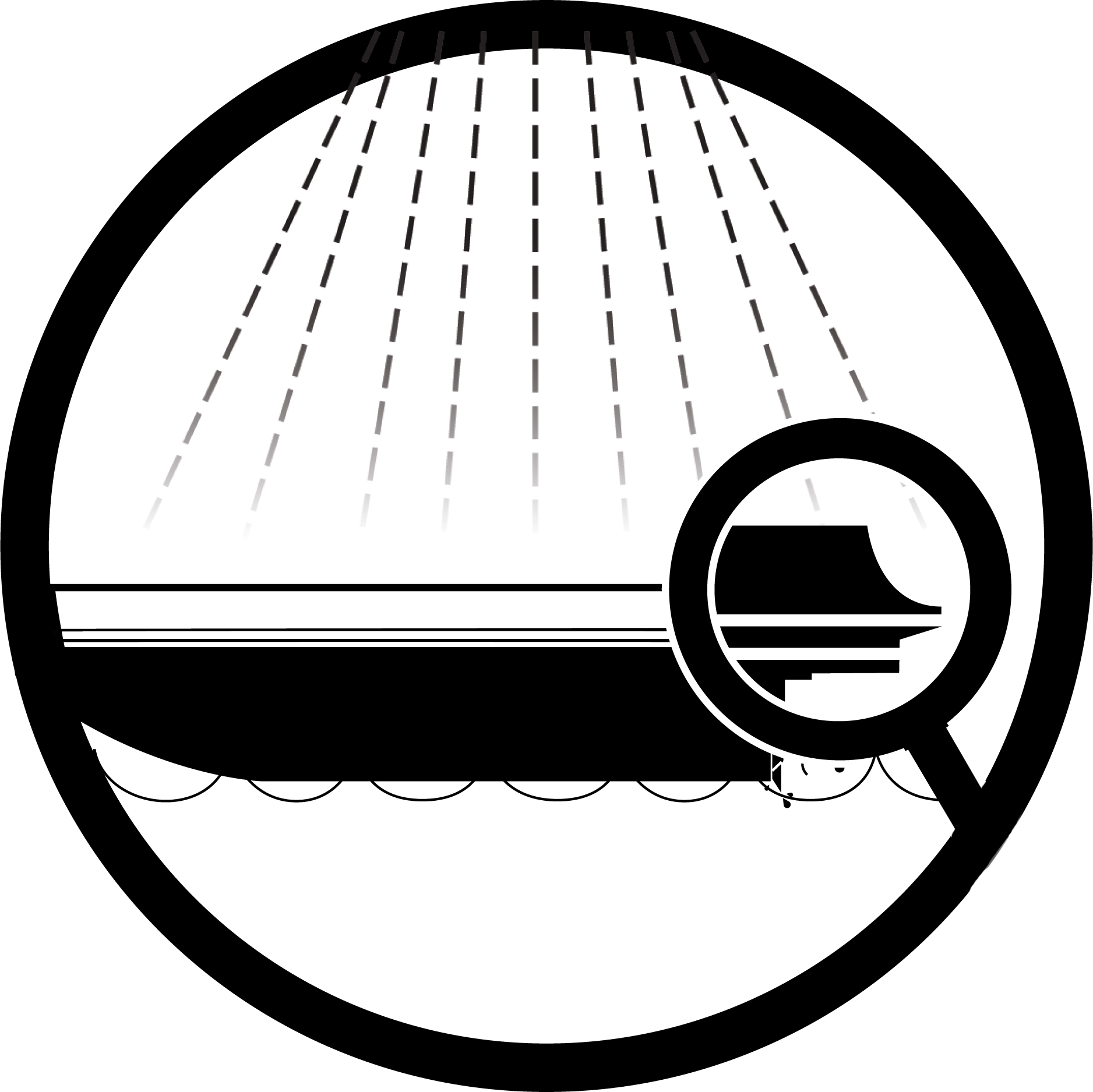 River action plan daction saint laurent actions icon symbol in a circle showing a boat being examined under a magnifying glass biocorpaavc Gallery